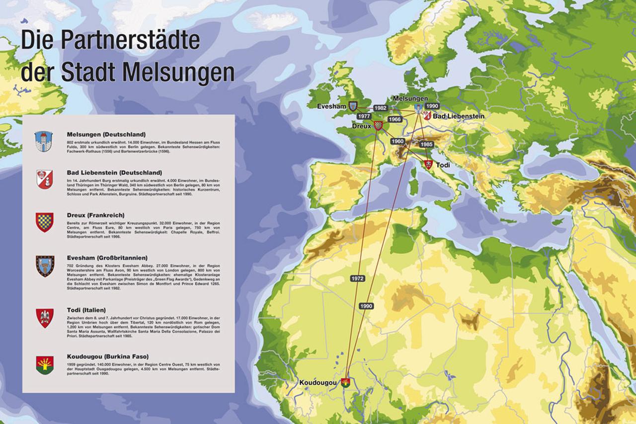 Wo liegen eigentlich die Partnerstädte von Melsungen? In unserer Karte finden Sie eine erste Übersicht sowie kurze Erläuterungen zu den Städten.