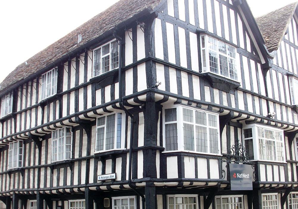 Ähnlich wie in Melsungen selbst finden sich auch in Evesham alte Fachwerkbauten