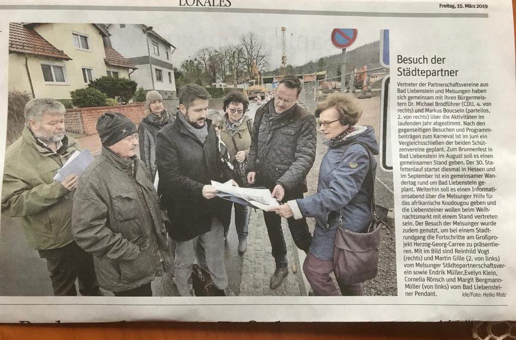 Auch die lokale Presse in Bad Liebenstein berichtet über den Besuch