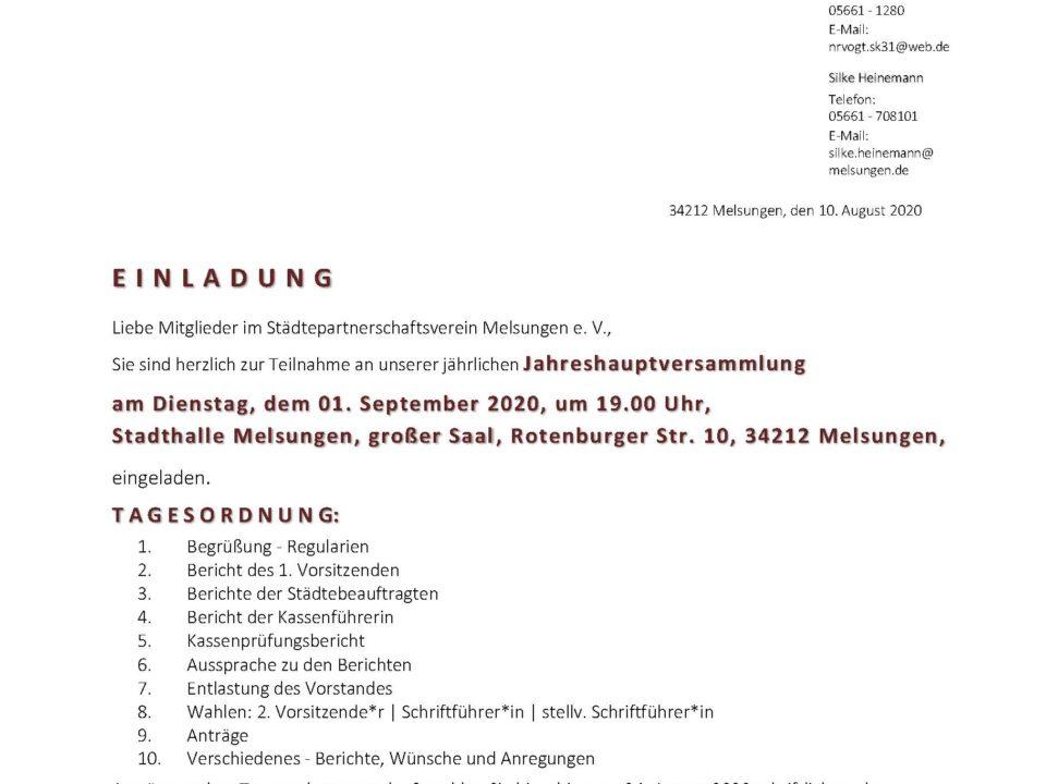 01.09.2020 Jahreshauptversammlung