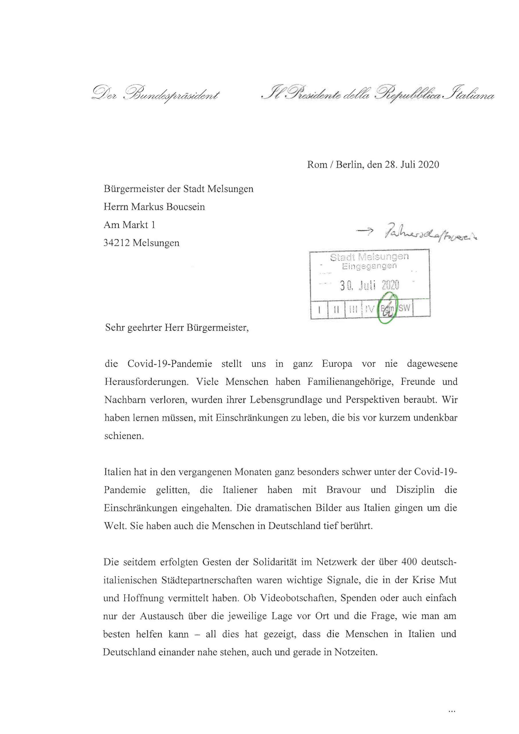 Brief Bundespräsident Seite 1